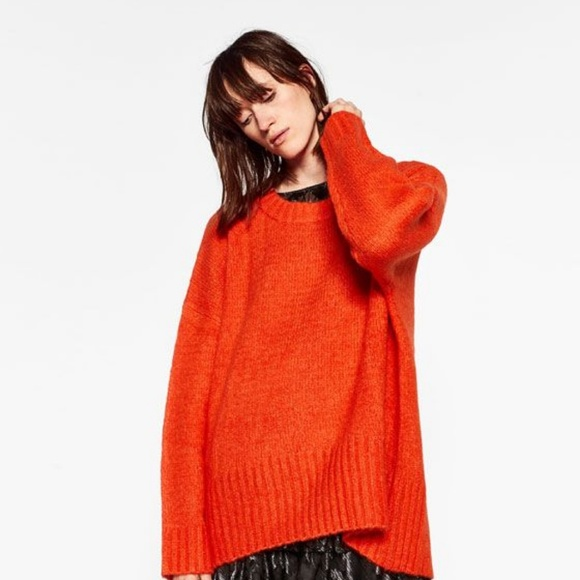 codice promozionale 6ece6 139fc ZARA Orange Oversized Pullover Thick Knit Sweater